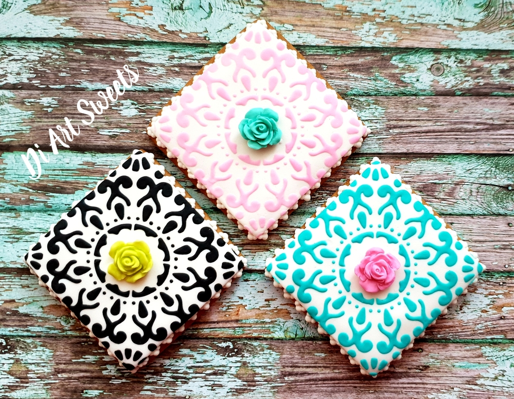 Square Stenciled Cookies!