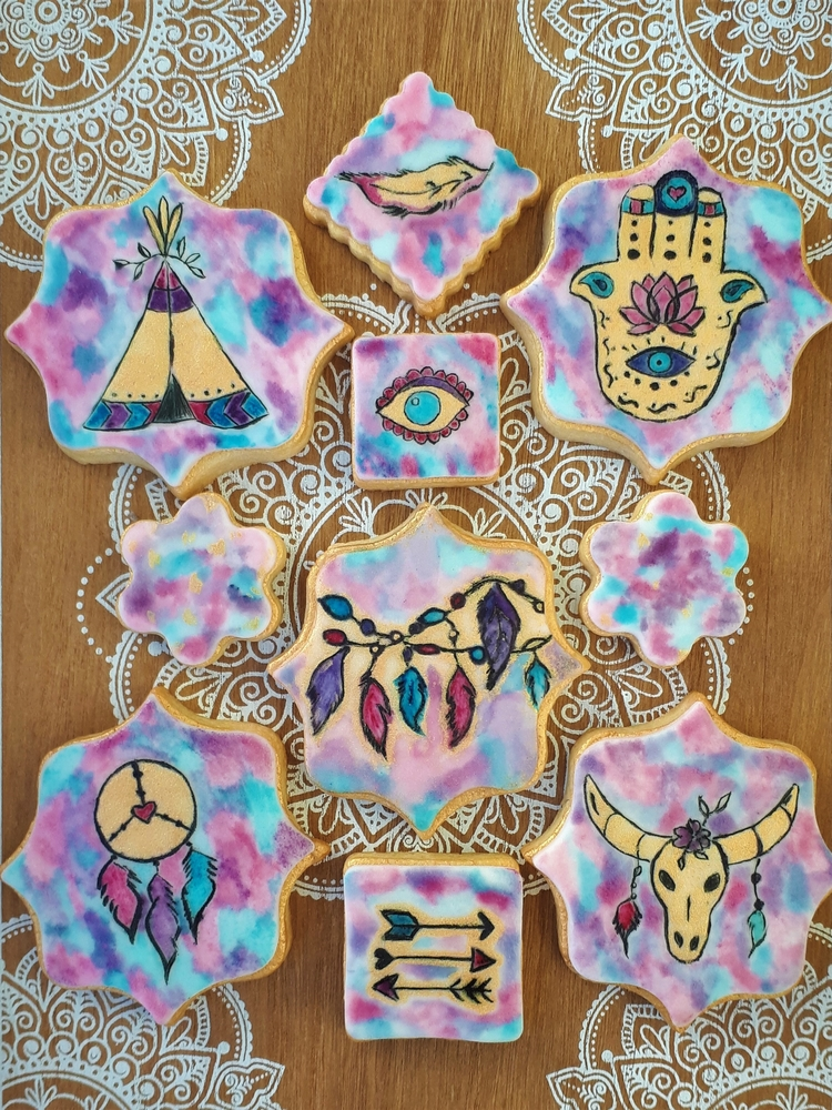 Boho Watercolor Cookies