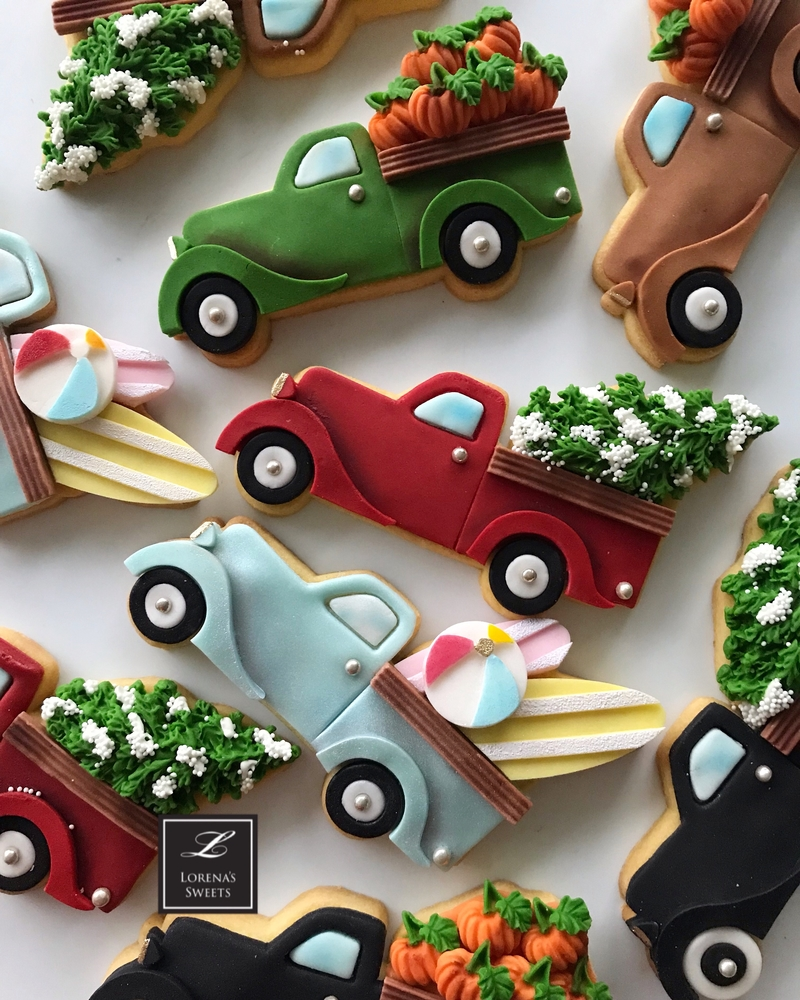 Lorena Rodríguez. Pickup truck cookies. Father's Day cookies