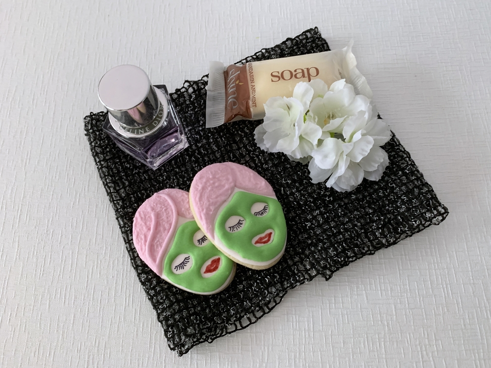 Spa themed bridal shower cookies