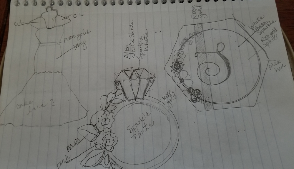 Rose gold wedding set sketches