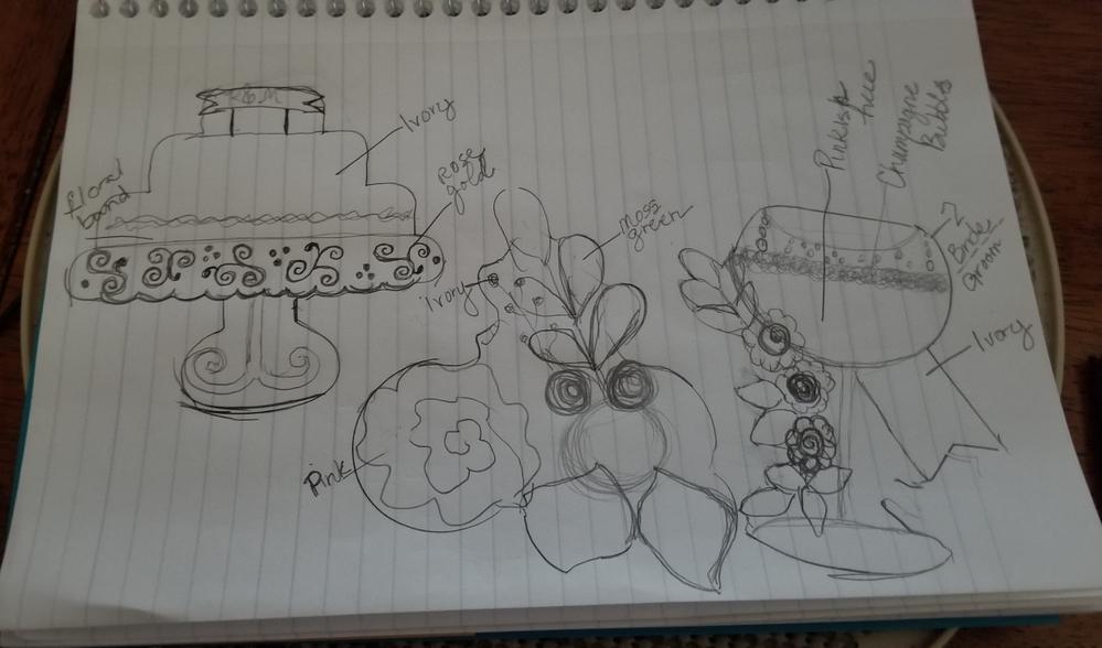 Rose gold wedding set sketches II