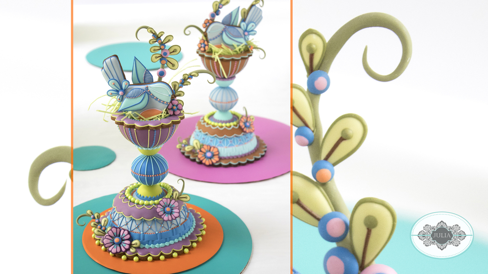 3-D Folk Art Bird Nest Cookies by Julia M Usher