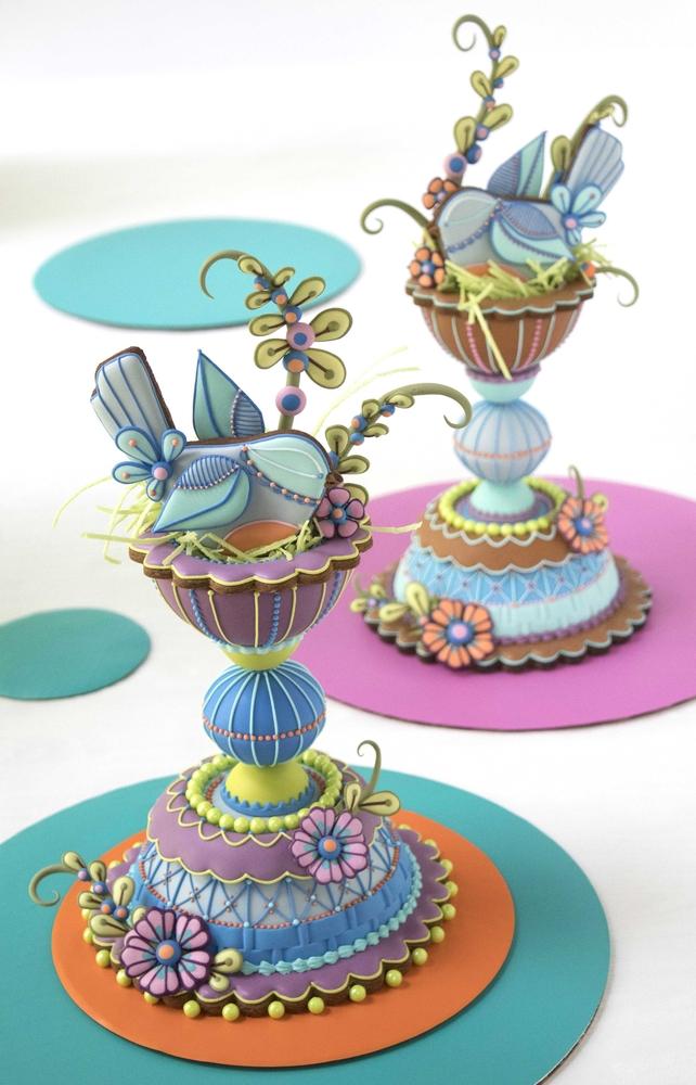 3-D Folk Art Bird Nest Cookies by Julia M Usher - Another View!