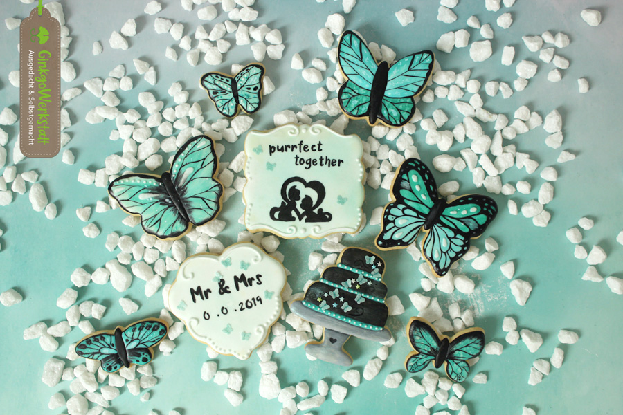 Black & Teal Wedding Cookies