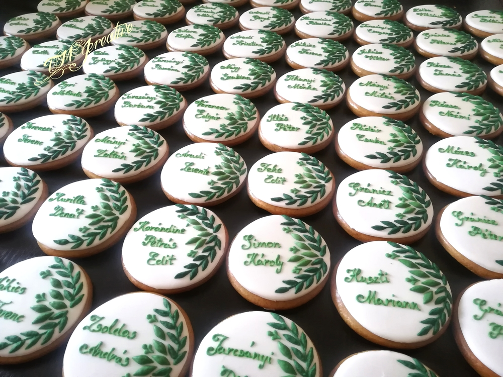 Greenary style wedding cookies by TMJcreative