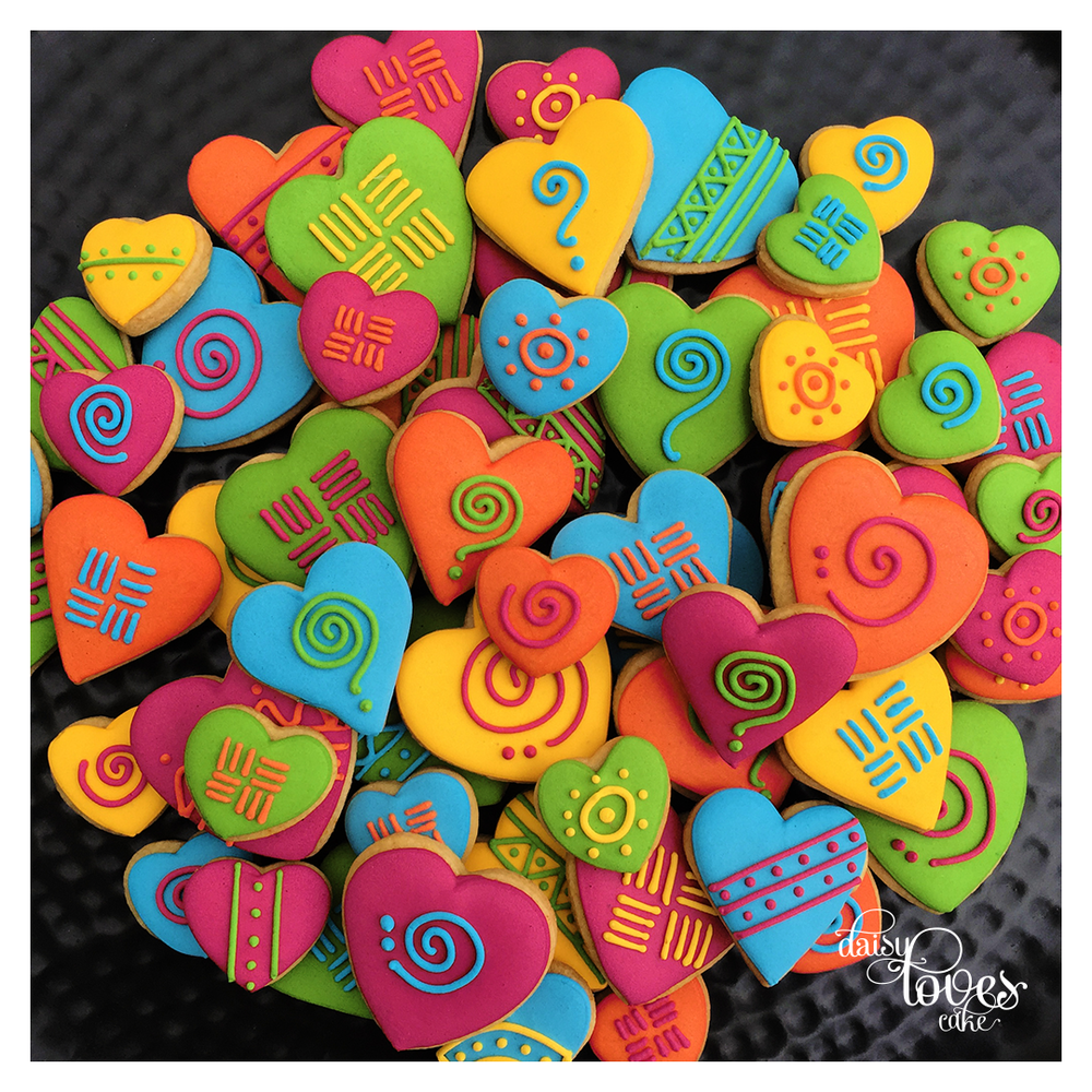 Vibrant African Hearts - by Daisy Loves Cake