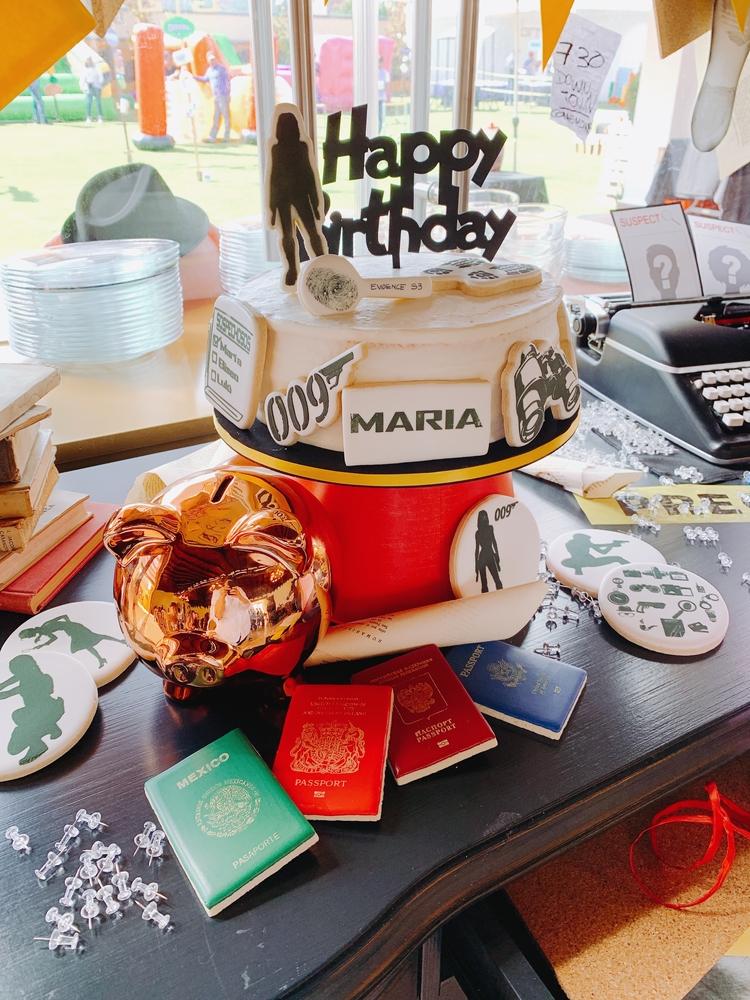 Spy themed Birthday cookies & cake