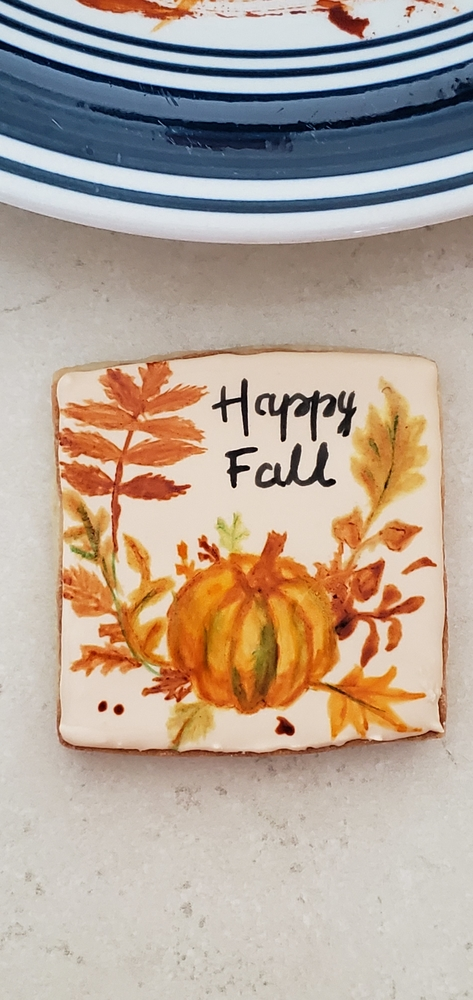 Painted Fall Leaves and Pumpkin