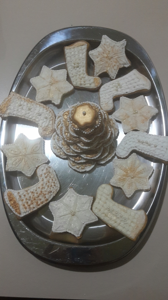 Gilded White Christmas Cookies - Another View