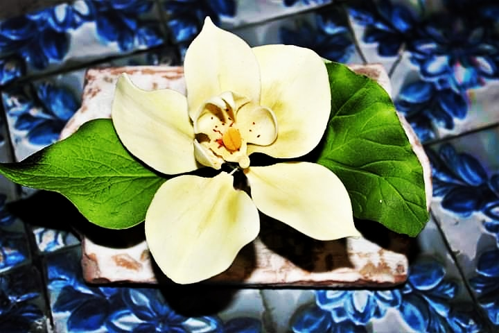 Orchid on old gingerbread tile