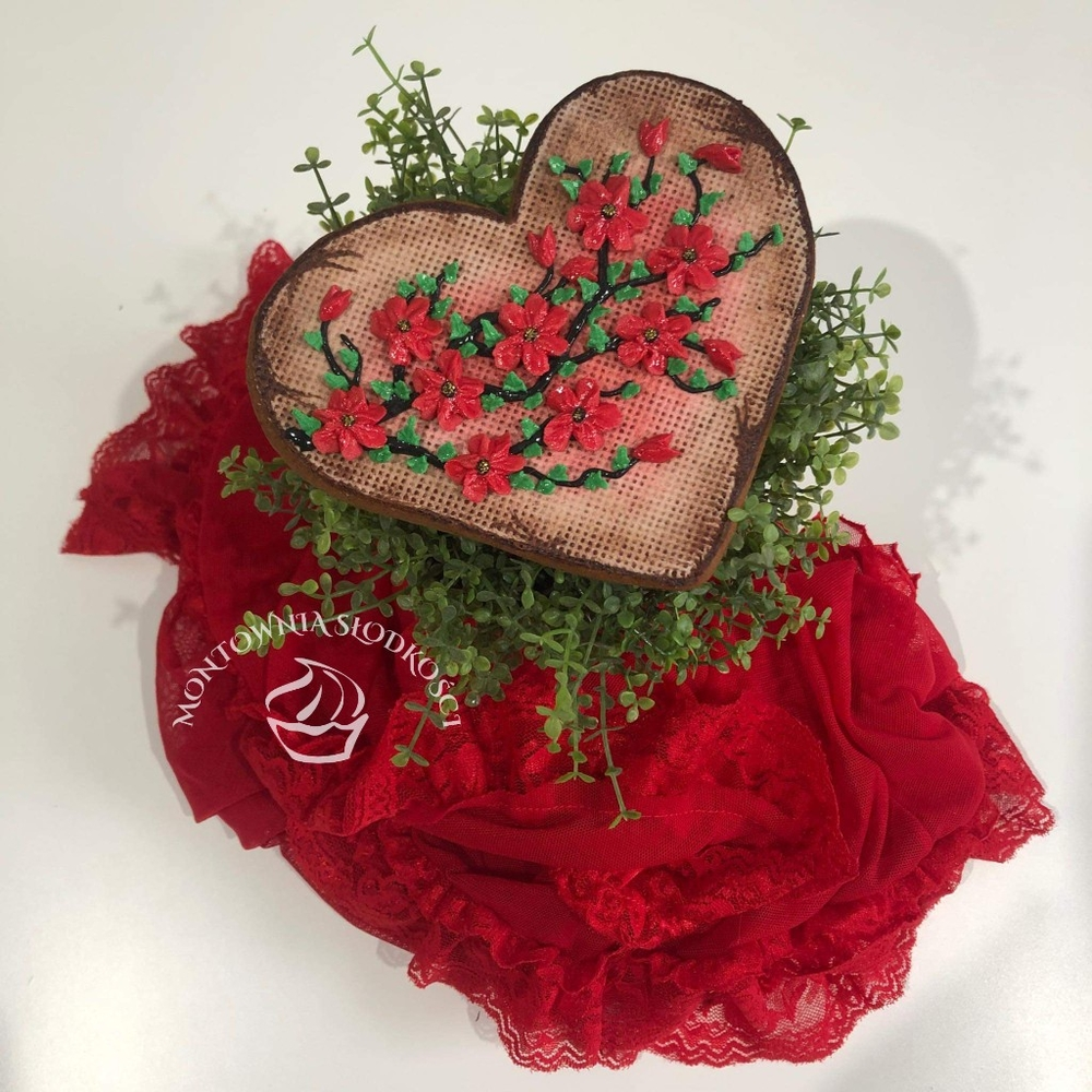 Heart with Red Flowers