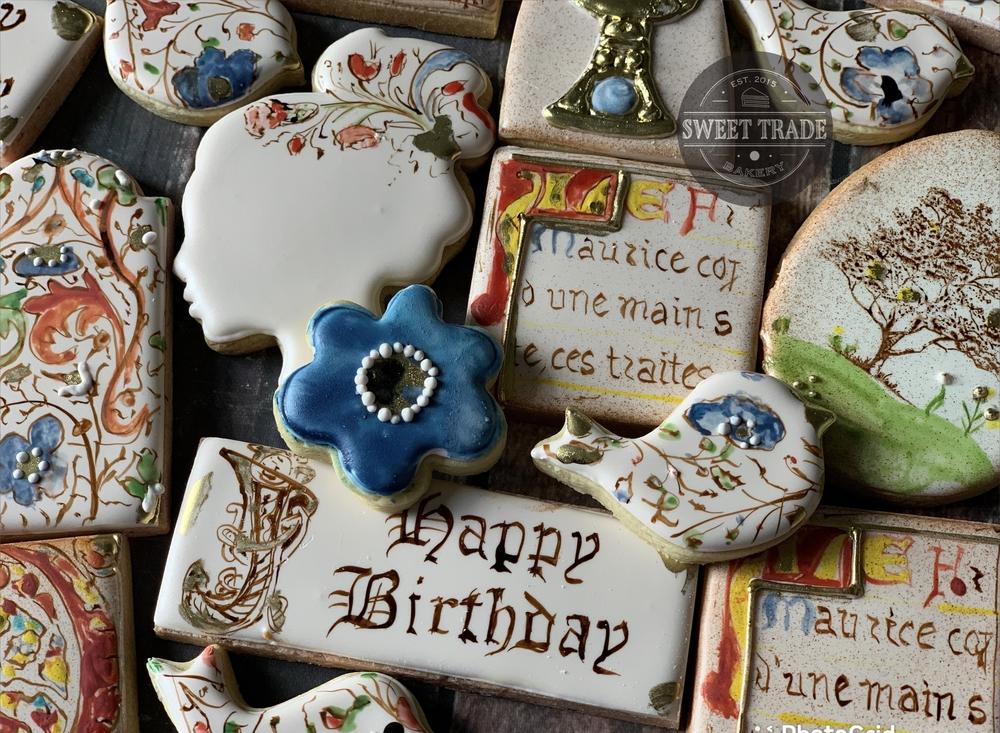 Illuminated Manuscript-Inspired Birthday Cookies