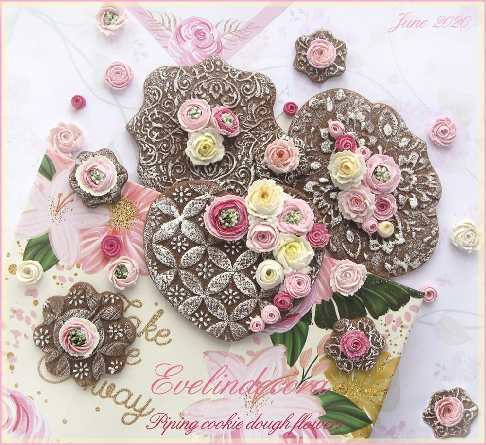 """""""Piping Cookie Dough"""" Flowers on Cocoa Cookies"""