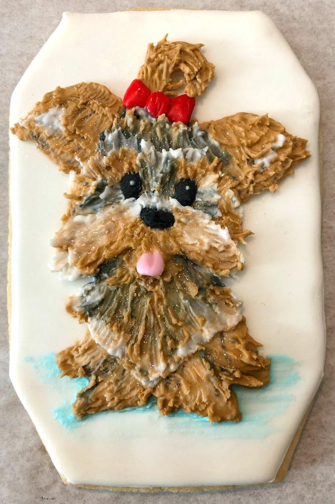 Brush Embroidery Yorkie Cookie