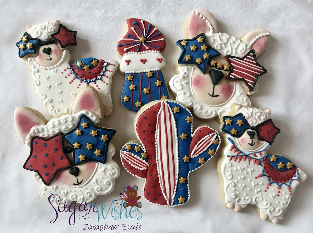 4th of July Llama-Themed Cookies