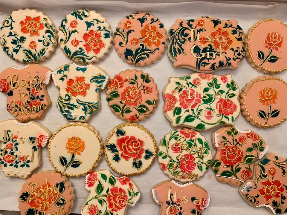 Baby Shower Floral Cookies