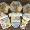 It's a Boy - Geometric Baby Shower: almond NFSC, vanilla RI, outline-flood, over-piping, multiple templates utilized