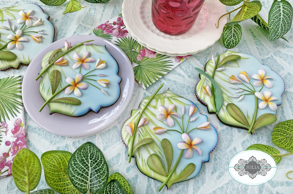 Summer Botanical Series: Plumeria Cookie by Julia M Usher