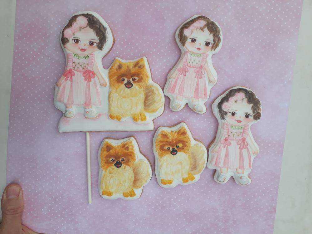 Girl and Doggie Handpainted Cookies