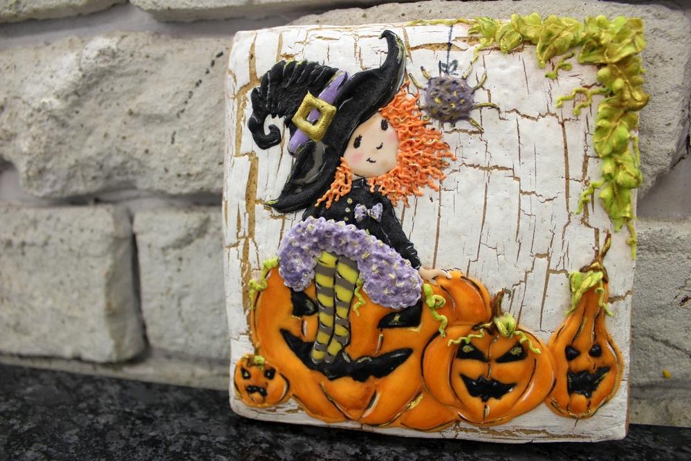 Witch and Jack-o-lanterns
