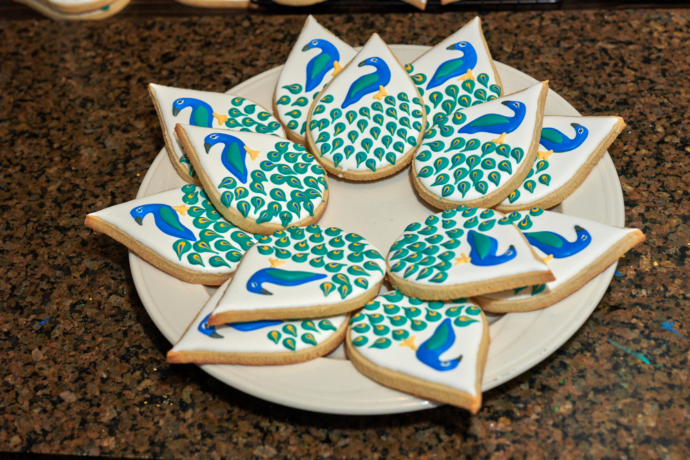 Peacocks with Tails Fanned Out by Knights Cookie Co.