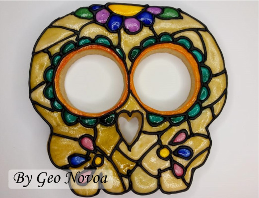 Stained Glass Mexican Skull