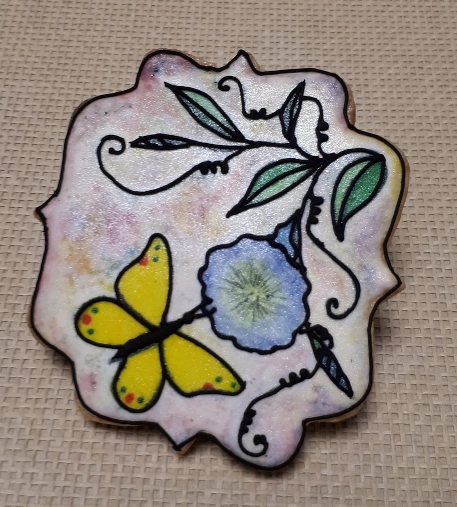 Handpainted Stained Glass Butterfly with Flowers - Version 2