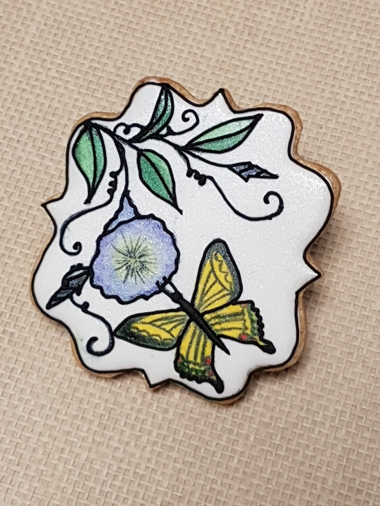 Handpainted Stained Glass Butterfly with Flowers