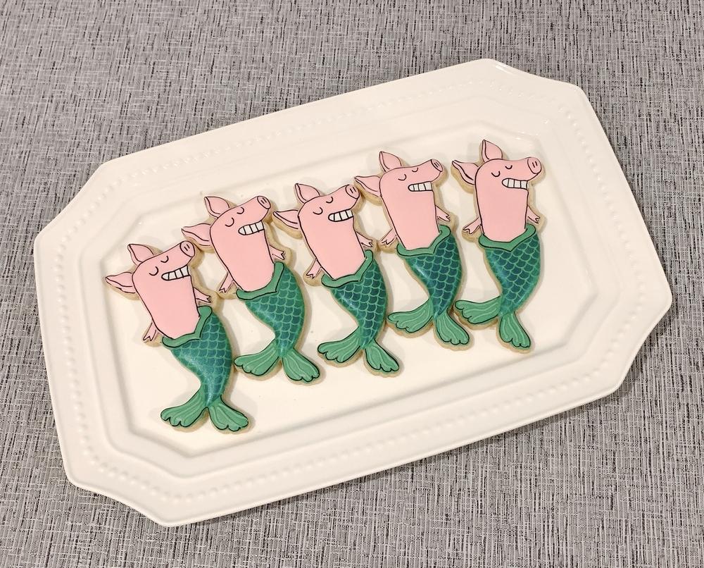 Pig-Mermaid Birthday Cookies