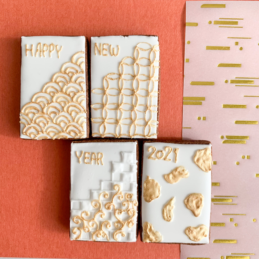 New Year Cookies with Traditional Japanese Patterns