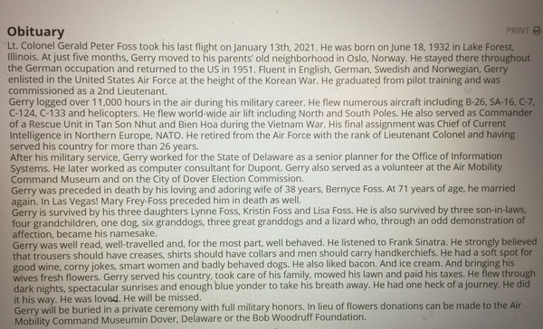 Dad's Obituary