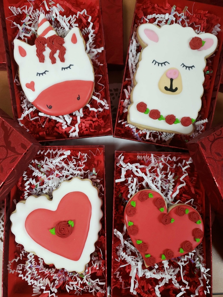 Valentine's Day Unicorn, Llama, and Hearts