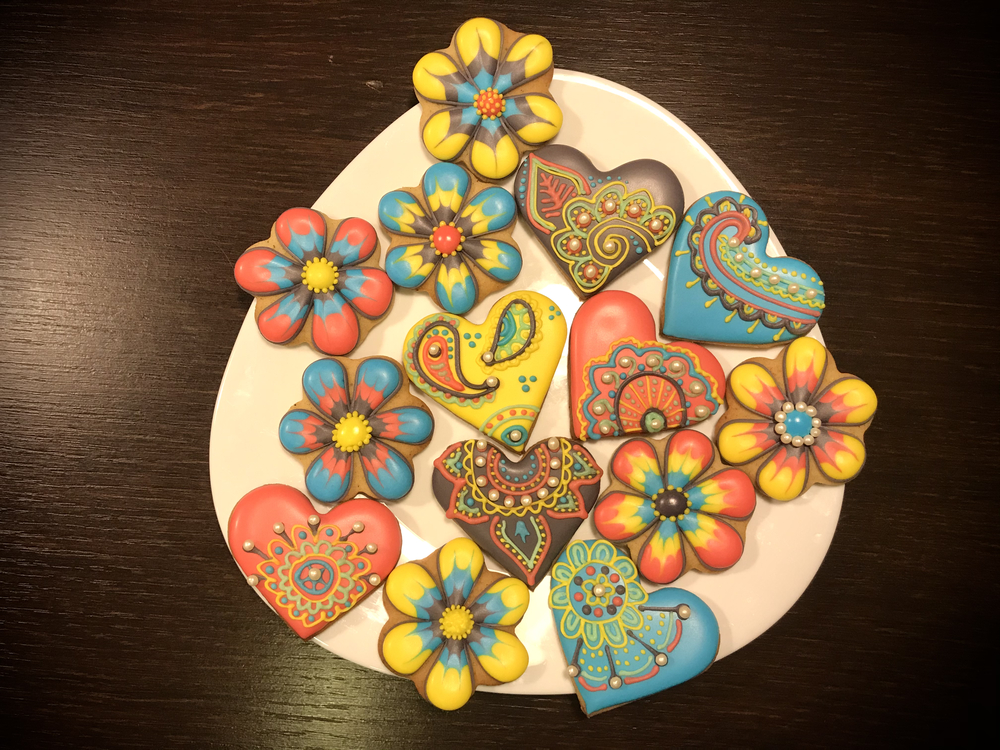 Mandala Hearts and Marbled Flowers