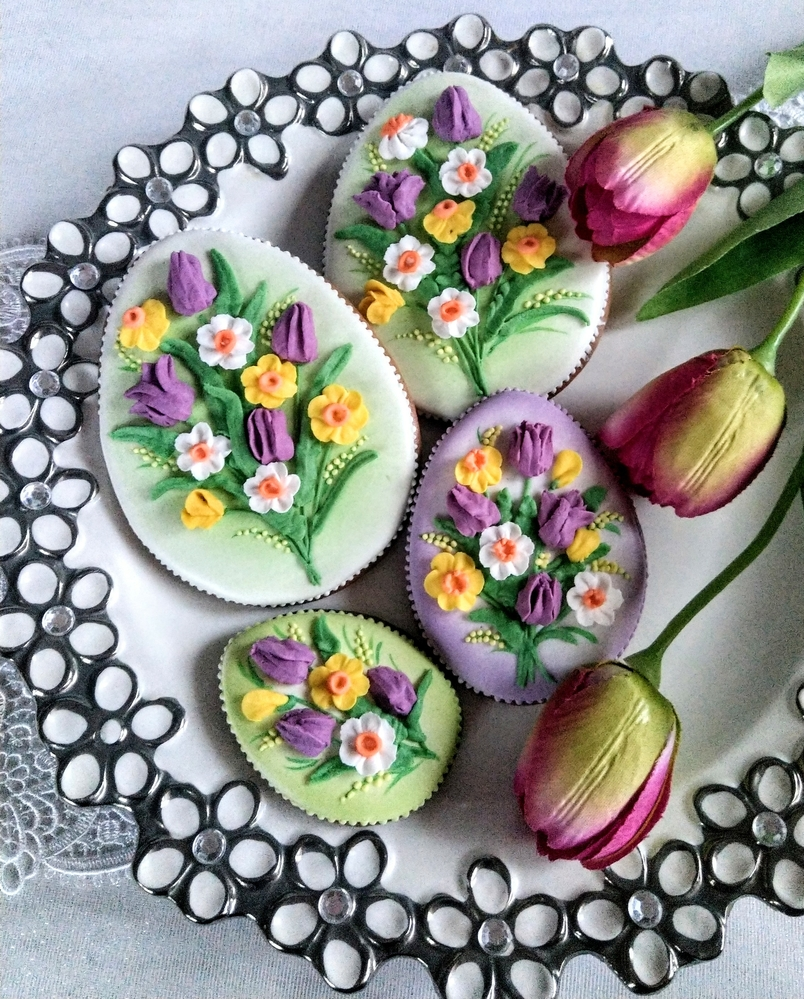 Easter Eggs with Tulips and Daffodils