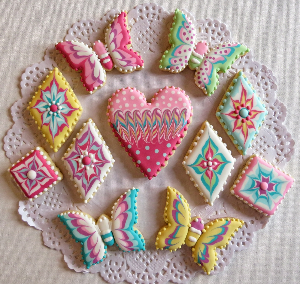 Butterfly, Flower, and Heart Cookies