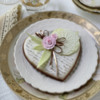 Heart with Contoured Imprinted Icing Leaves: Cookie and Photo by Julia M Usher
