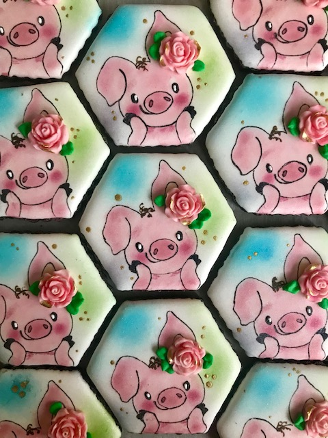 Year of the Pig Baby Shower Cookies