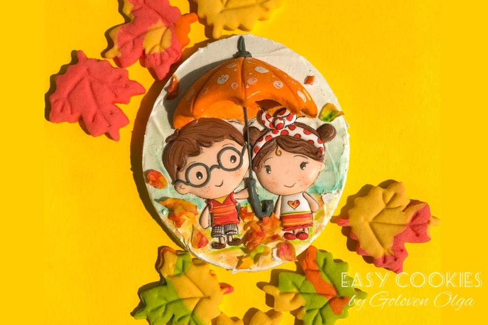 Fall Love Under Umbrella Cookie